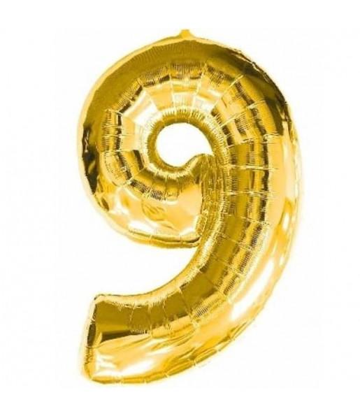 Globo número 9 dorado gigante