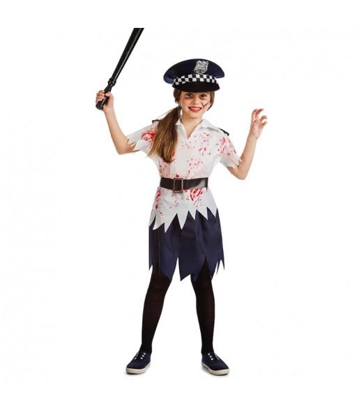 Disfraz de Policía Niña Zombie