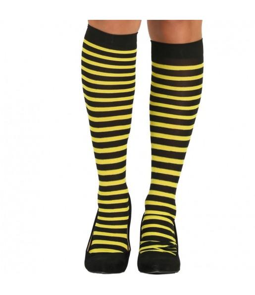 Medias Amarillas con rayas mujer