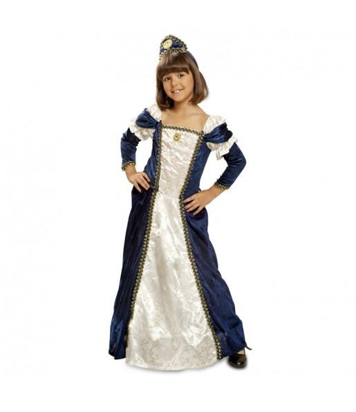 Disfraz de Dama Medieval Azul Lujo