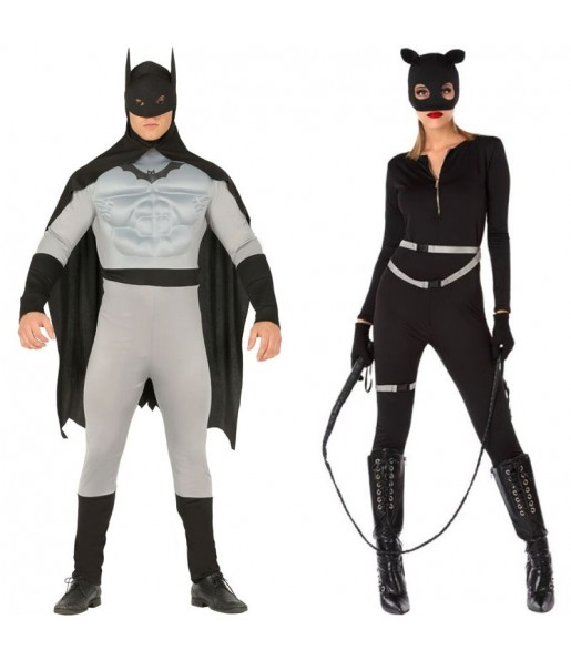 Pareja Bat hero y Catwoman