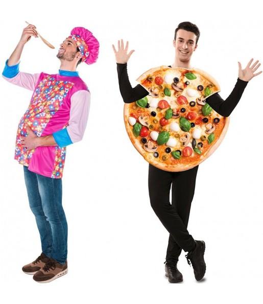 Pareja Cocinero Chicote y Pizza