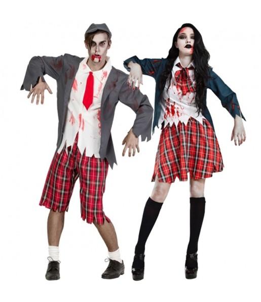 Pareja Colegiales Zombies