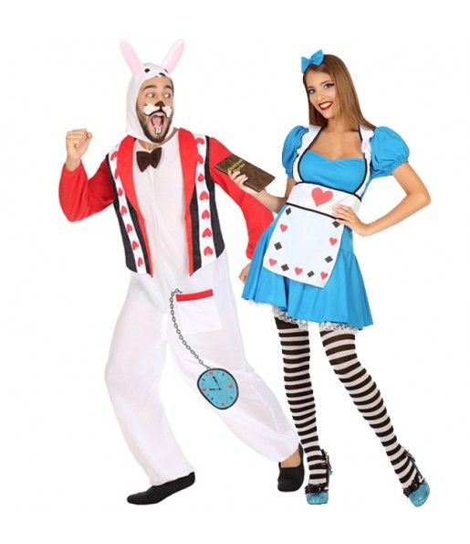 Pareja Alicia País Maravillas y Conejo Blanco