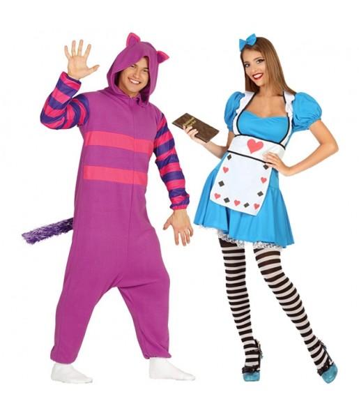 Pareja Alicia País Maravillas y Gato Cheshire