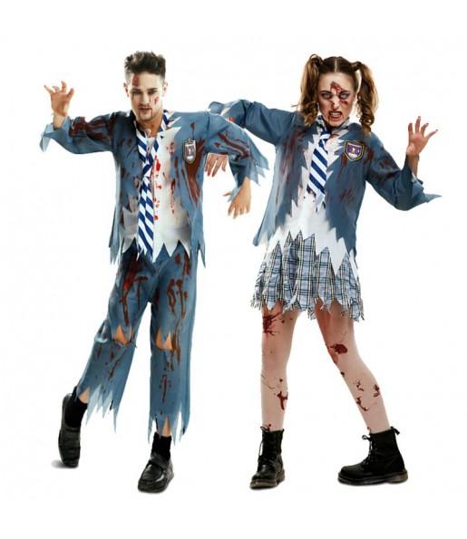 Pareja Estudiantes Zombies