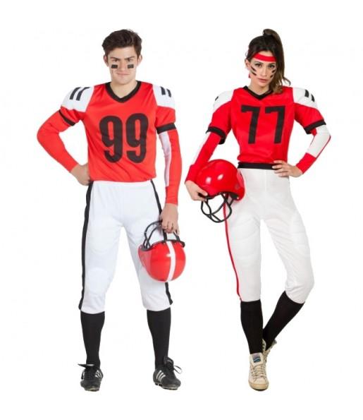 Pareja Fútbol Americano Rojos