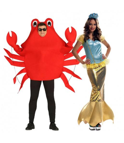 Pareja Cangrejo Sebastián y La Sirenita Ariel