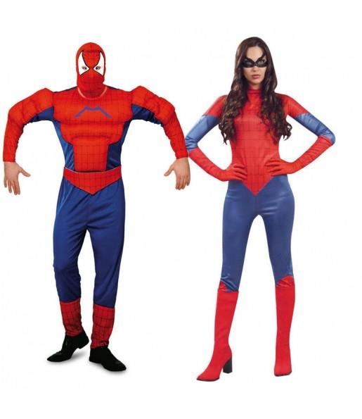 Pareja Spidermans adulto