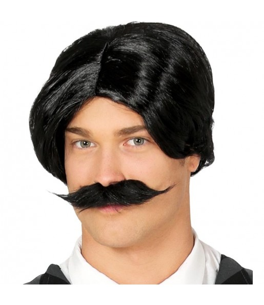 Peluca Gomez Addams con bigote