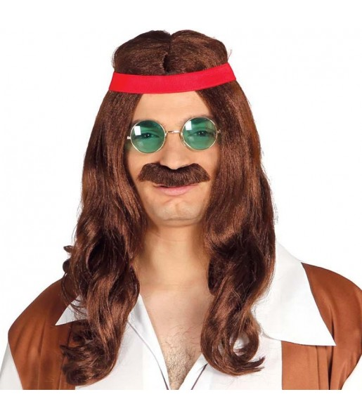 Peluca Hippy con bigote