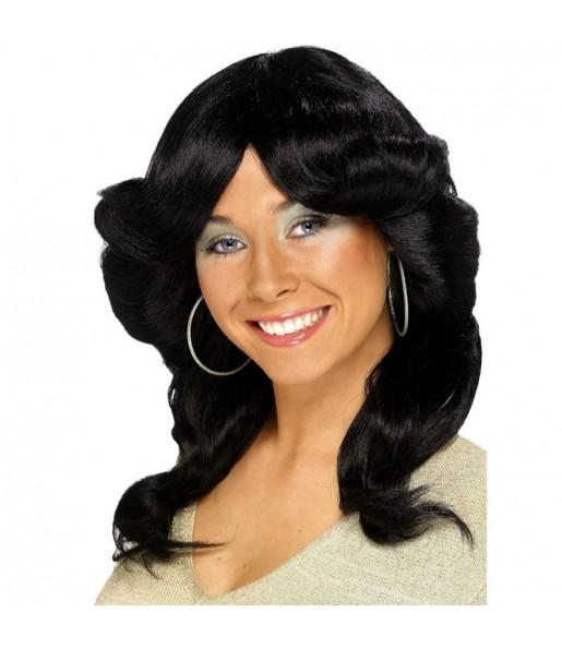 Peluca negra años 70 mujer