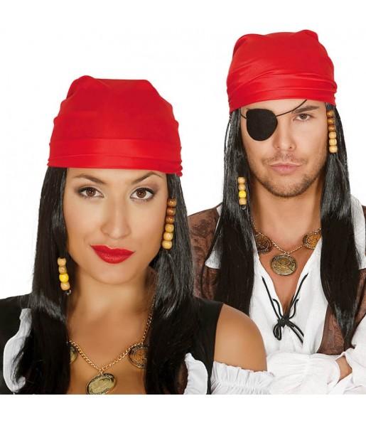 Peluca Pirata del Caribe con pañuelo