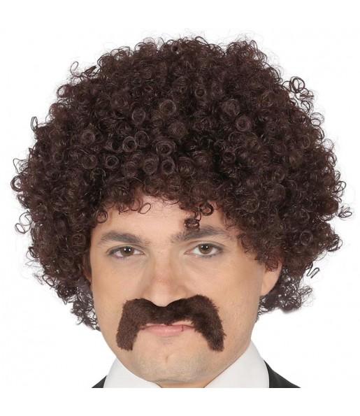 Peluca Pulp Fiction Castaña con bigote