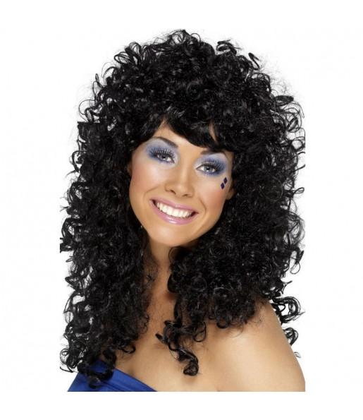 Peluca Rizada larga negra mujer