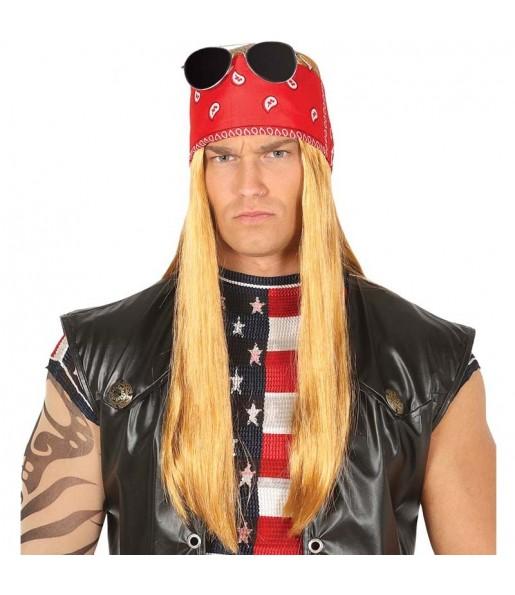 Peluca Rockero Heavy con pañuelo