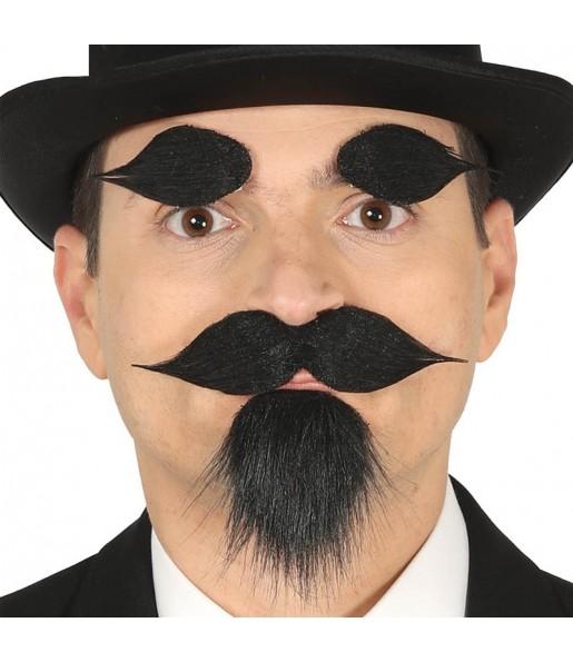 Perilla, bigote y cejas con adhesivo