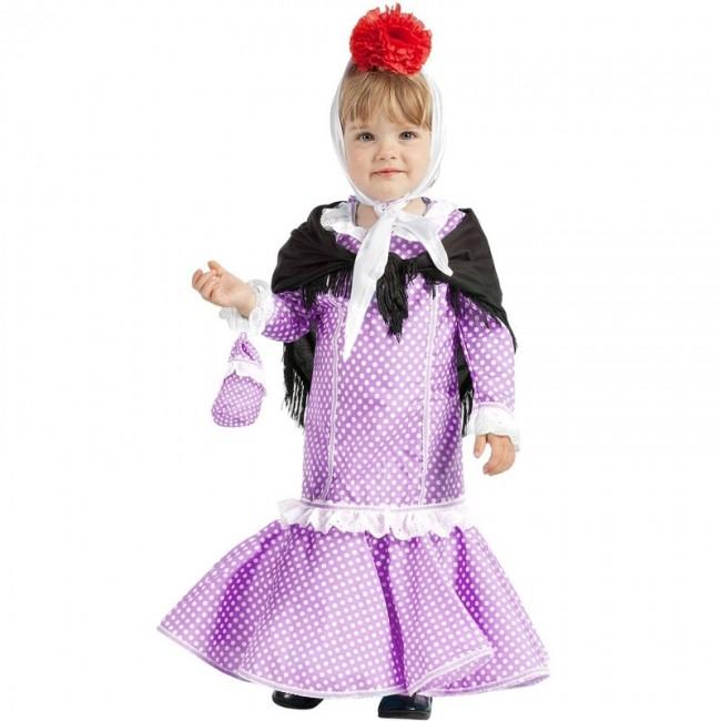 f1631f3362 ▷ Disfraz Chulapa lila Madrileña para Bebé