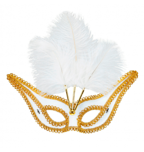 Máscara Blanca con Ribete y Plumas