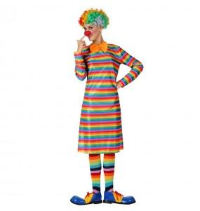 Disfraz de Payasa Rayas Multicolor para mujer