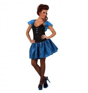 Disfraz de Chica Año 60 Azul