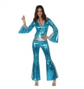 Disfraz de Disco Azul para mujer
