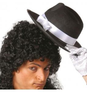 sombrero gánster negro cinta blanca