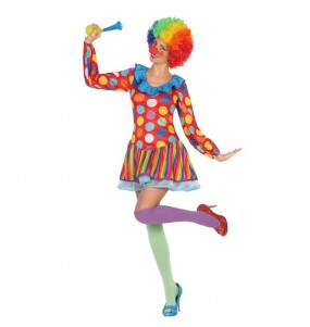 disfraz payasa multicolor adulto