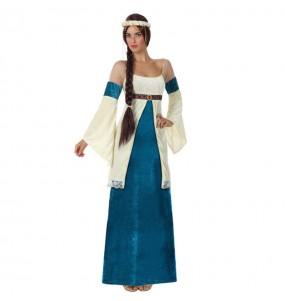 disfraz dama medieval mujer azul
