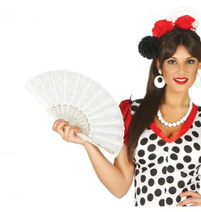 Abanico Flamenco Blanco