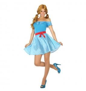 disfraz años 50 azul adulto