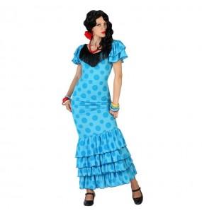 Disfraz de Sevillana Azul flamenca
