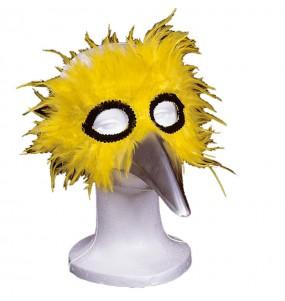 Mascara con plumas Amarilla