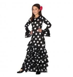 Disfraz de Sevillana Negra lunares blancos para niña