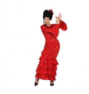 disfraz sevillana roja lunares negros