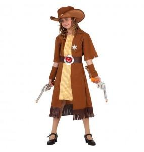 Disfraz de Vaquera Marrón niña