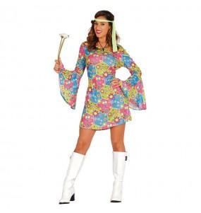 Disfraz de Hippie Flores mujer