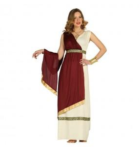 Disfraz de Romana blanco rojo mujer