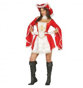 Disfraz de Mosquetera Roja mujer