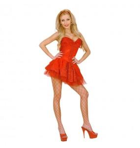 Disfraz de Falda Tul y Lentejuelas Roja