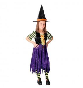 Disfraz de Bruja a Rayas infantil