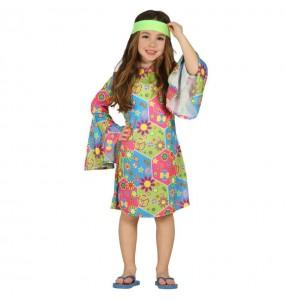 Disfraz de Hippie flores chica flower power