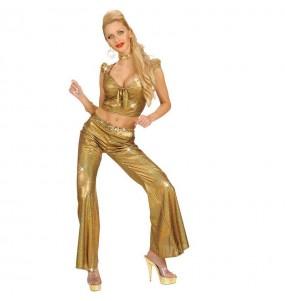 Disfraz de Top Holográfico Oro