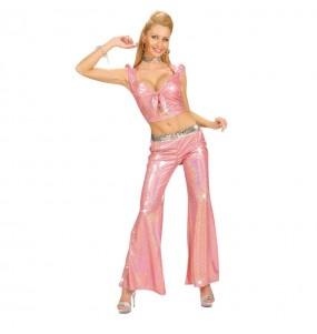 Disfraz de Pantalón Holográfico rosa