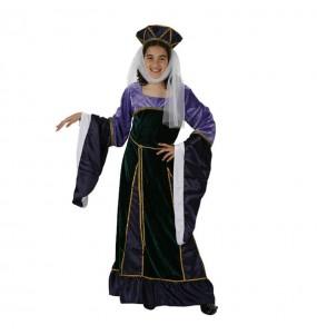 Disfraz de Dama Medieval Morada infantil