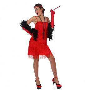 Disfraz de Charlestón Fleco Rojo mujer