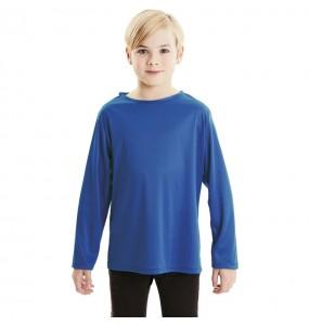 Camiseta azul infantil de manga larga