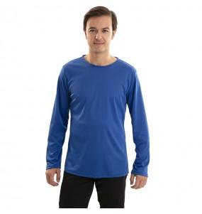 Camiseta azul para adulto de manga larga