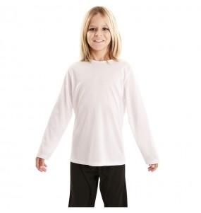 Camiseta blanca infantil de manga larga