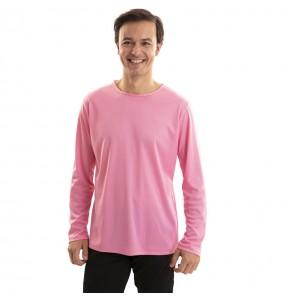 Camiseta rosa para adulto de manga larga
